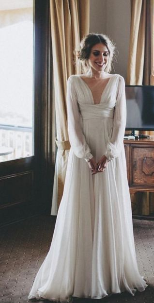 f91e76c61c52f A-line Simple Wedding Dress, Long Sleeves Wedding Dress Wedding Gown,  Chiffon