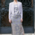 Grey Vintage dress 60s tailored style viscose with flower + vintage jacket OOAK