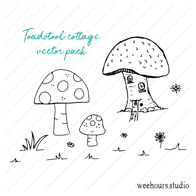 Toadstool cottage vector pack - illustration, drawing, art, for digi stamps,
