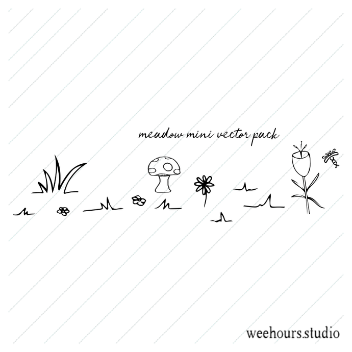 Meadow mini vector pack - illustration, drawing, art, for digi stamps,