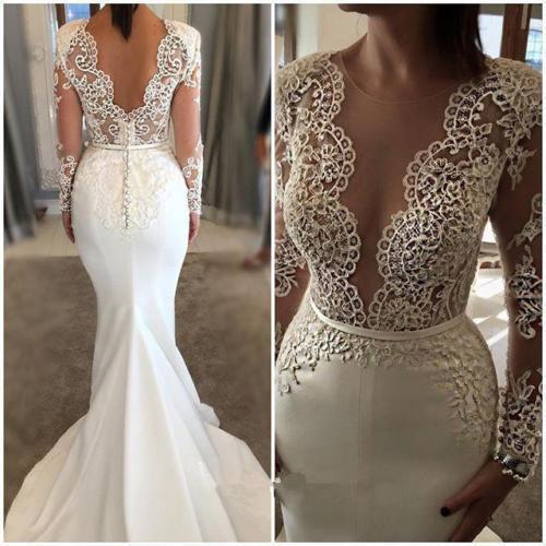 New Arrival Long Sleeve Scoop Neck Mermaid Backless white Wedding Dresses