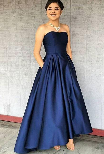 Dark Blue Prom Dressstrapless High Low Prom By Prom Dresses On Zibbet