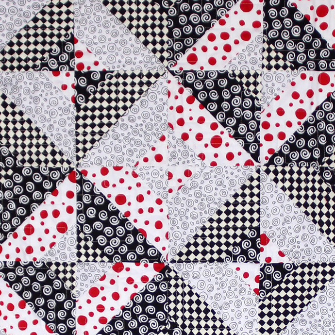 Lap/Chair Quilt. Wall Hanging. Cotton Blanket. Wheelchair Quilt. Red Black White