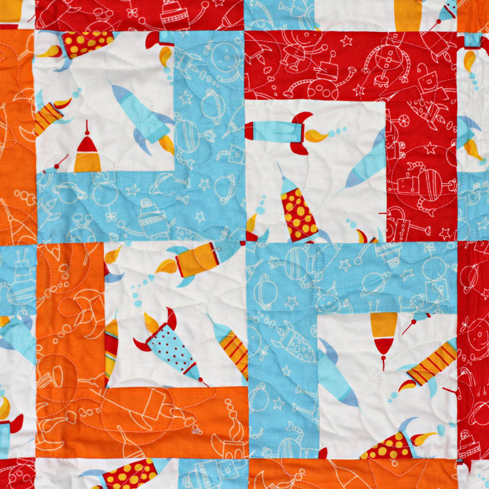 Patchwork Quilt, Rocket Ships and Robots