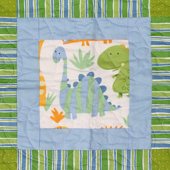 Dinosaur Quilt. Gender Neutral Nursery Bedding. Baby Toddler Nap Lap Quilt.