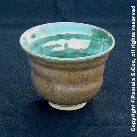 Small Green Reflections Stoneware Bowl