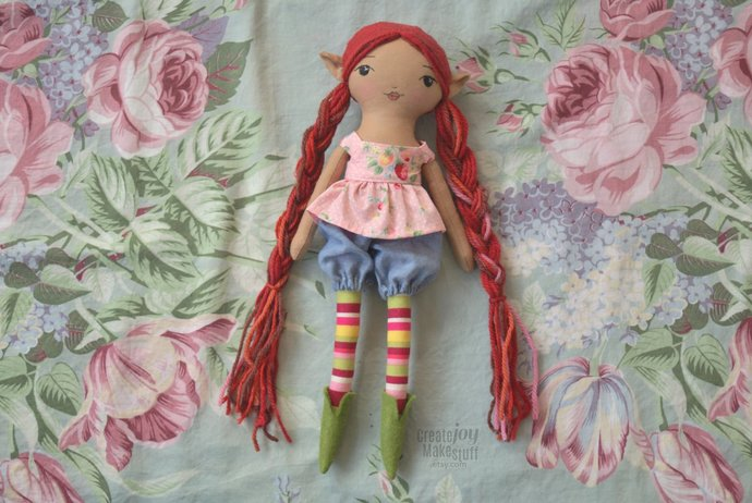 "Mara - 14"" Elf doll - pixie - handmade rag doll - heirloom - fabric - cloth -"