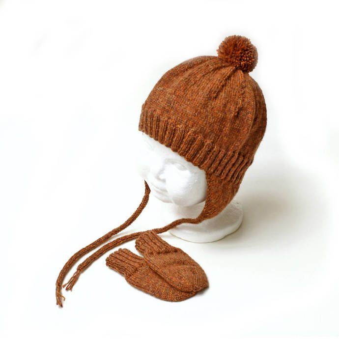 Baby Earflap Hat and Thumbless Mitten Set. 6 to 9 Months. Gender Neutral. Warm