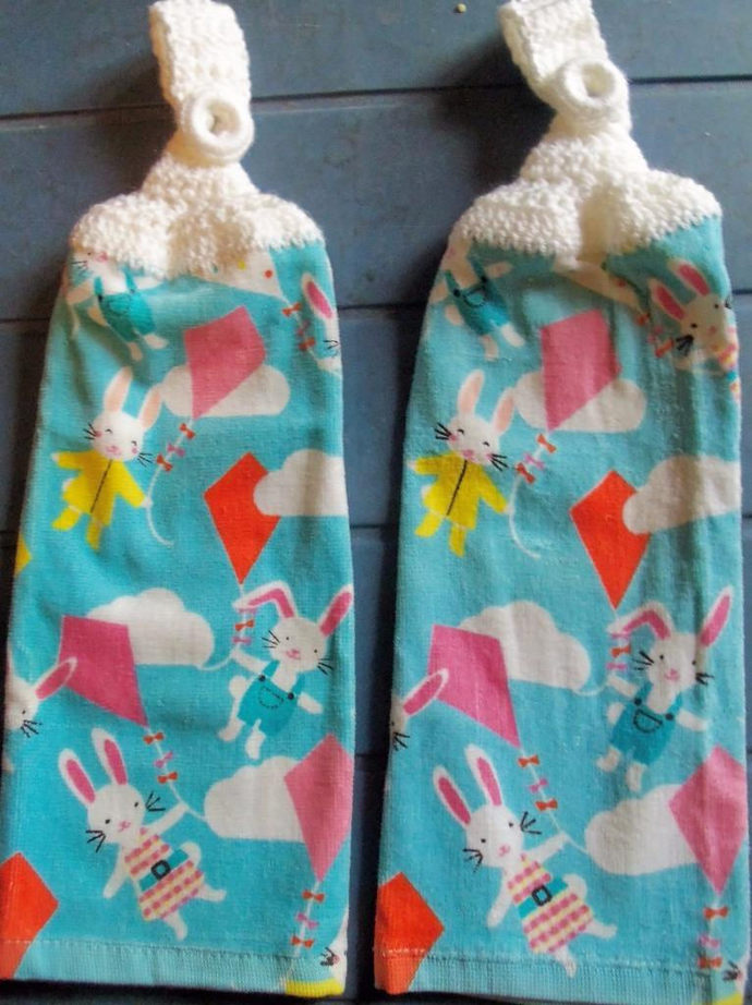 Easter Bunnies Flying Kites Design Kitchen Hanging Towels Med Quality (2)