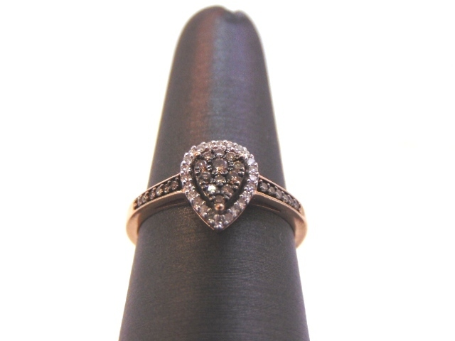 Womens Vintage Estate 10K Rose Gold Ring w/ Chocolate Diamonds 2.2g #E1960