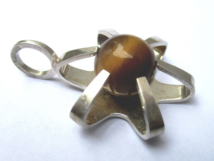Vintage designer tiger eye caged ball pendant sterling silver Finland 1960s -