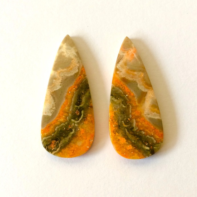 Bumble Bee Jasper Gemstone Cabochon Pear 33x14mm FOR TWO