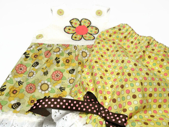 Girls Outfit, Girls Honey Bee Outfit, Girl Sunsuit, Girls Jumper, Girls Bloomer