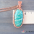 Wire Wrapped Amazonite Necklace, Copper Wire Woven Gemstone Pendant, Green and
