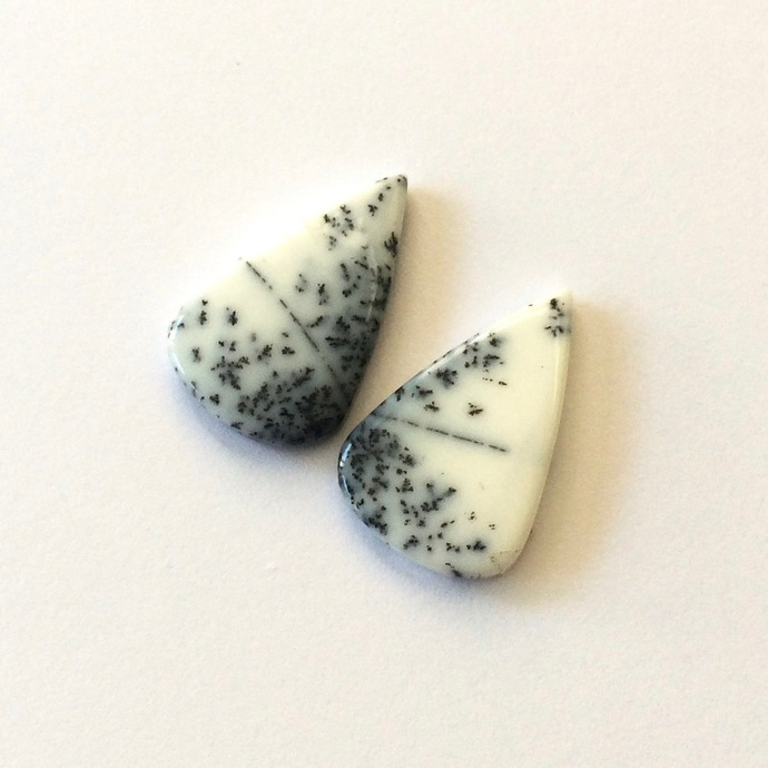 Dendritic Opal Gemstone Cabochon Pear 25x16mm FOR TWO