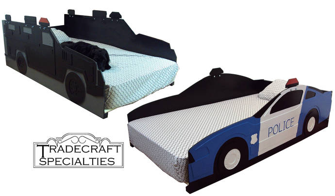 Police, fire, EMS vehicle twin kids bed frame - handcrafted - themed children's