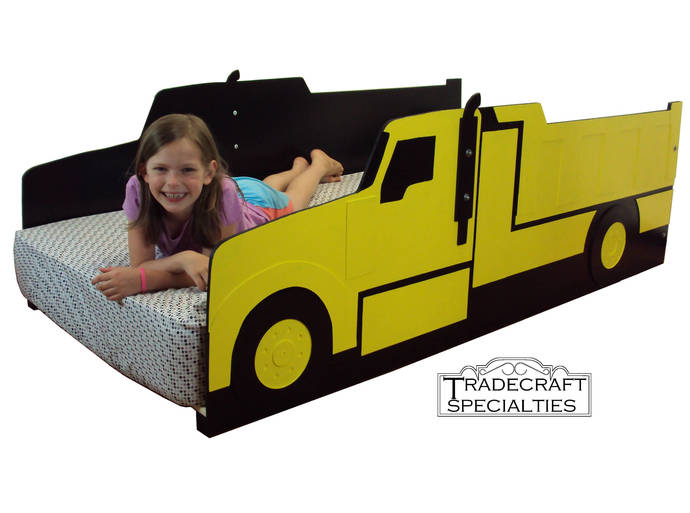 Dump truck twin kids bed frame - handcrafted - haul truck themed children's