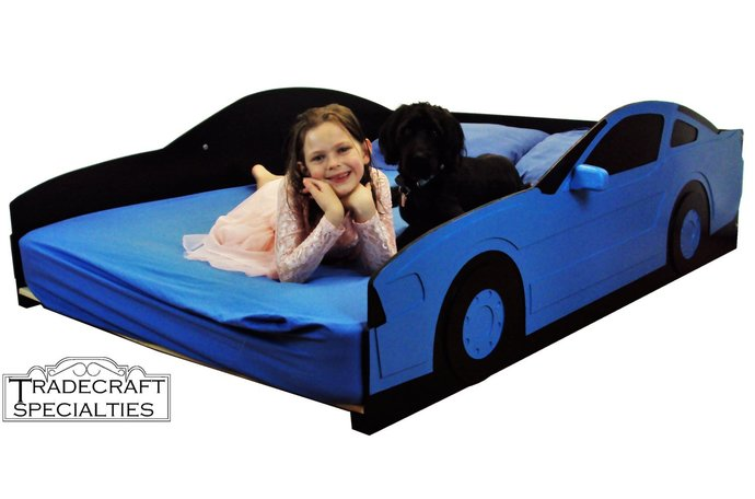Sportscar full kids bed frame - handcrafted - race car themed children's bedroom