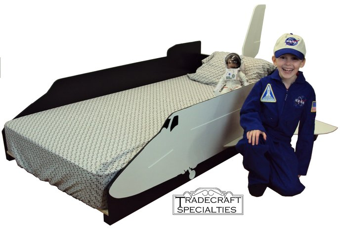 Space shuttle twin kids bed frame - handcrafted - space themed children's