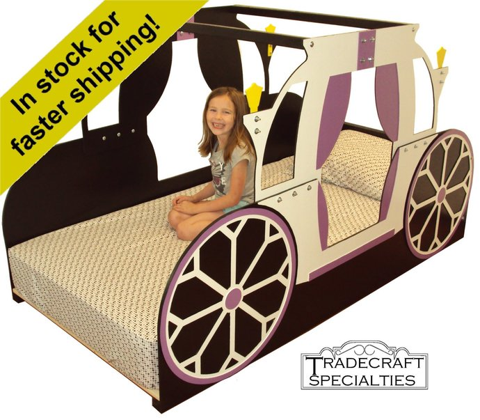 Princess carriage twin kids bed frame - handcrafted - princess themed children's