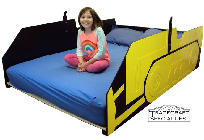 Bulldozer full kids bed frame - handcrafted - children's bedroom furniture -