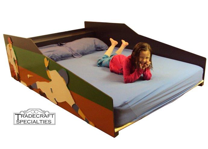 Baseball themed kids bed frame - full - handcrafted - sports themed children's