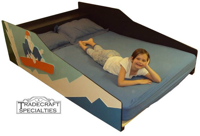 Snowboarder themed kids full size bed frame - handcrafted - sports themed