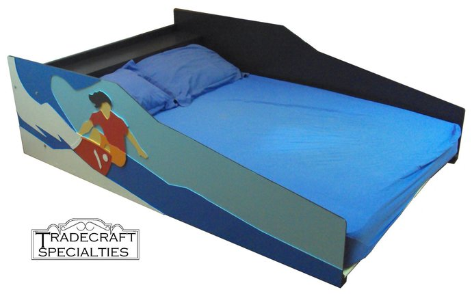 Surfer themed kids full size bed frame - handcrafted - sports themed children's