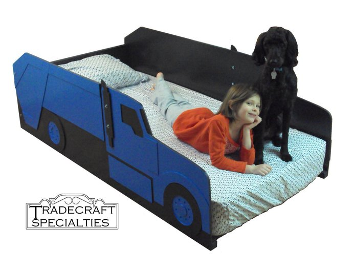 Garbage truck twin kids bed frame - handcrafted - truck themed children's