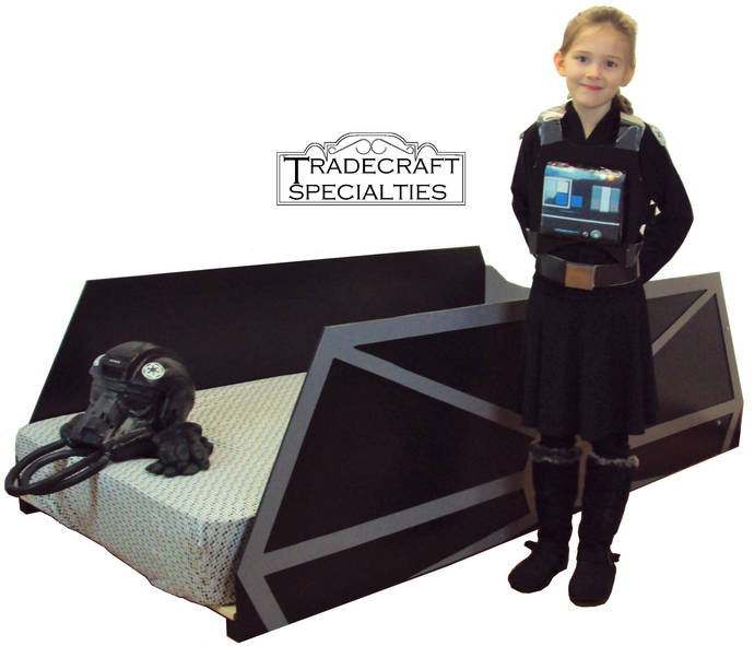 TIE starfighter twin kids bed frame - handcrafted - space and futuristic themed