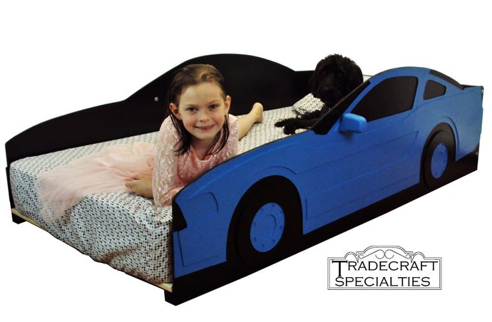 Sportscar twin kids bed frame - handcrafted - car themed children's bedroom