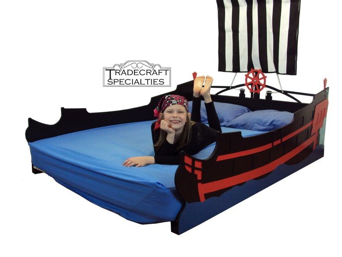 Pirate ship full kids bed frame - handcrafted - nautical themed children's