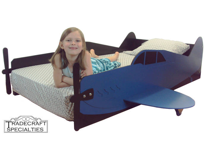 Aircraft twin kids bed frame - handcrafted - airplane themed children's bedroom