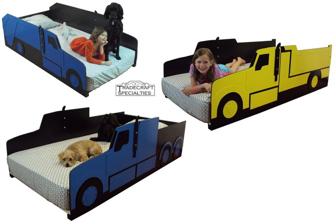 Truck twin kids bed frame - handcrafted - by tradecraftspec on Zibbet