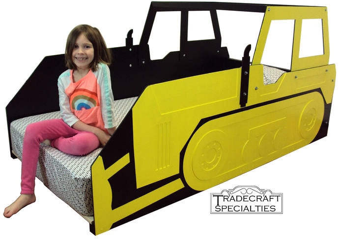 Bulldozer twin kids bed frame - with or without cab - handcrafted - children's