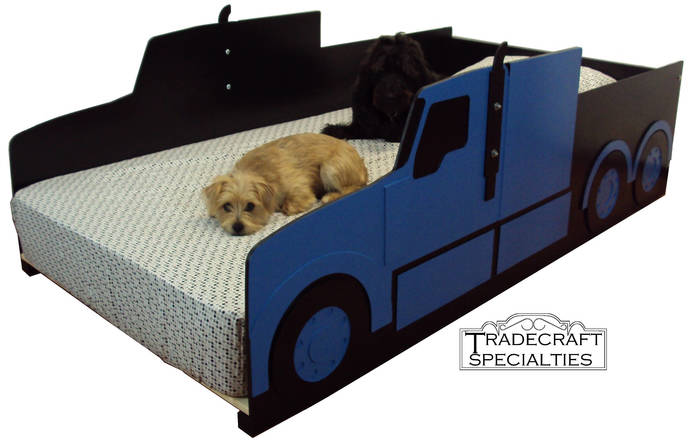 Semi-tractor truck twin kids bed frame - handcrafted - truck themed children's