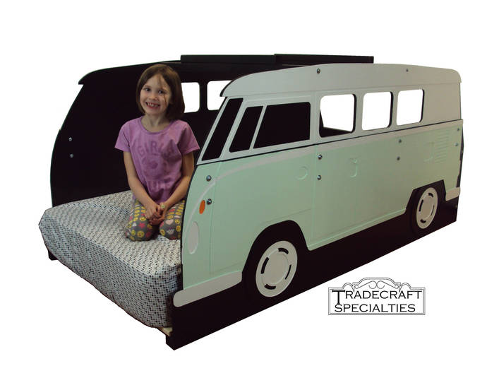 Surfer mini-bus twin kids bed frame - handcrafted - themed children's bedroom