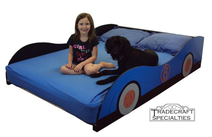 Stylized sportscar full kids bed frame - handcrafted - race car themed