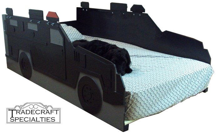 Police S.W.A.T. armored truck twin kids bed frame - handcrafted - truck themed