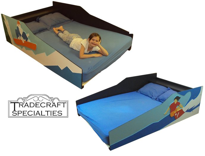 Sports and outdoor themed kids bed frame - handcrafted - snowboard, surfer or