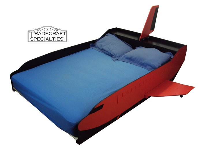 Commercial Jet Aircraft full kids bed frame - handcrafted - airplane themed