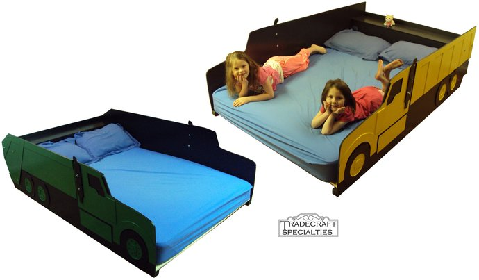 Truck full kids bed frame - with integrated headboard shelf - handcrafted -
