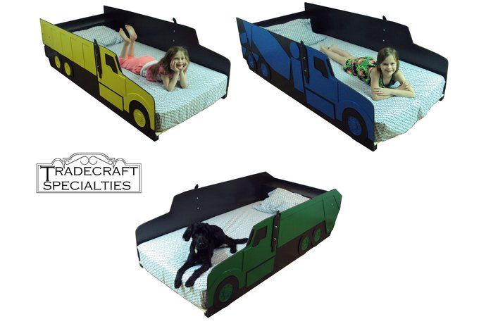 Truck twin kids bed frame - with integrated headboard shelf - handcrafted -