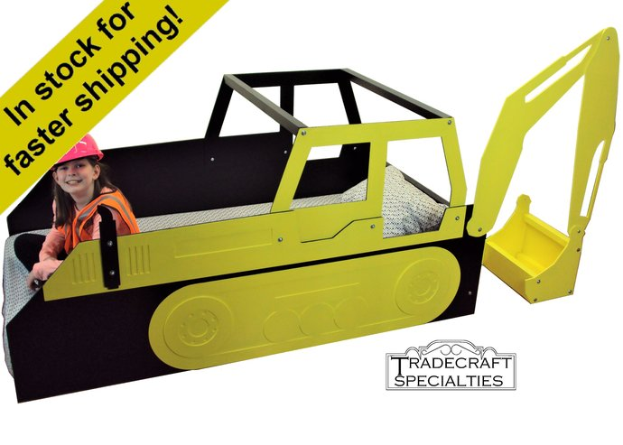 Excavator twin kids bed frame - handcrafted - children's bedroom furniture -
