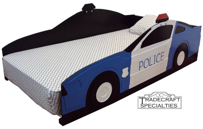 Police car twin kids bed frame - handcrafted - police and cop car themed