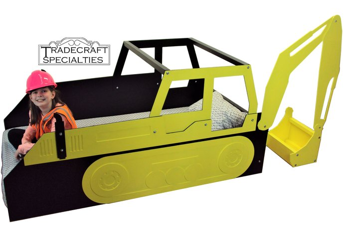 Excavator twin kids bed frame - handcrafted - children's bedroom furniture -