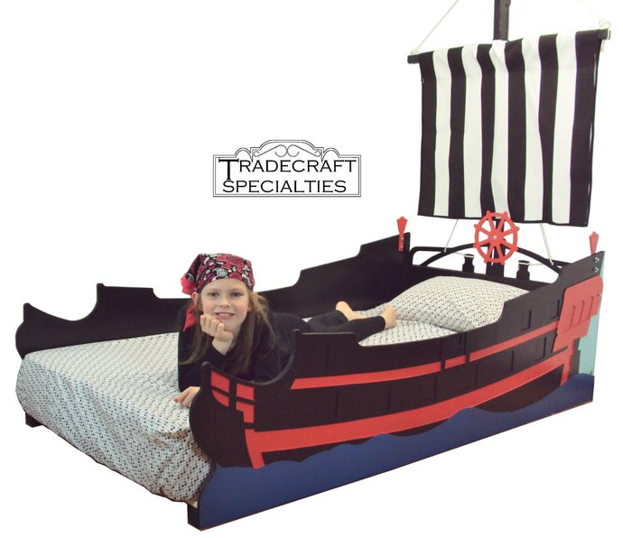 Pirate ship twin kids bed frame - handcrafted - nautical themed children's
