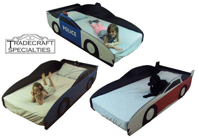 Car twin kids bed frame - with integrated headboard shelf  - handcrafted  - car