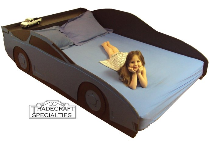 Car full kids bed frame - with integrated headboard shelf - handcrafted - car