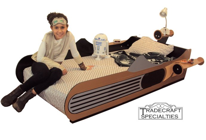 X-34 landspeeder twin kids bed frame - handcrafted - space and futuristic themed
